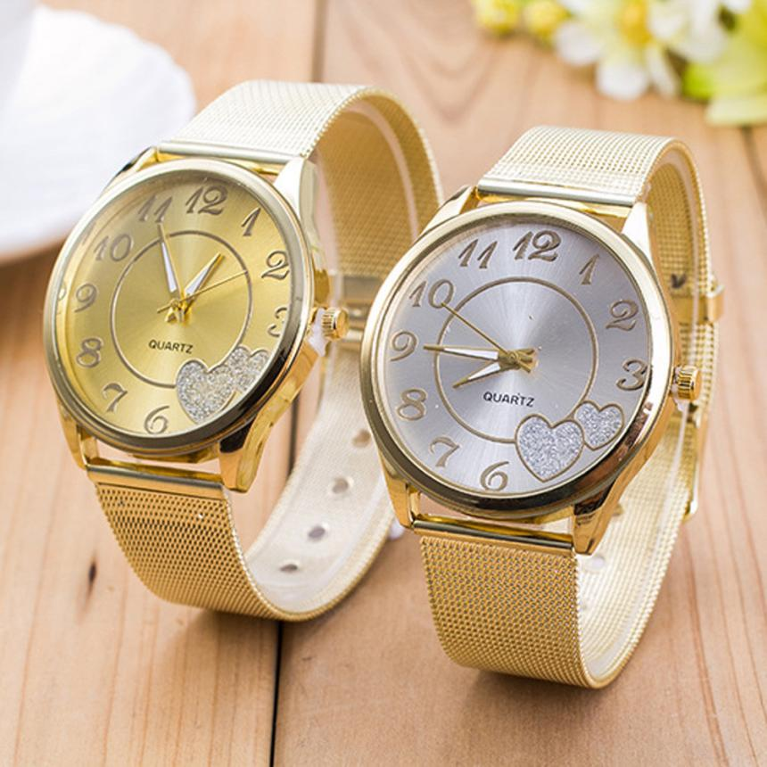 relogio feminino Hot  Women Ladies Watch Gold Mesh Band Wristwatch  2017 march13supper fun relogio pmw211