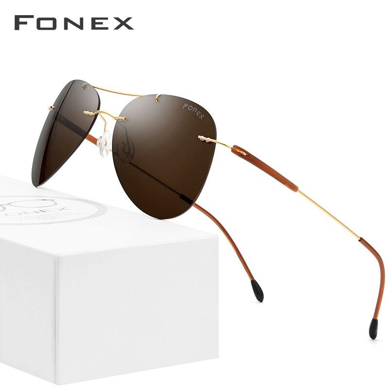 Titanium Alloy TR90 Rimless Sunglasses Men 2019 Ultralight Screwless Sunglass Women Pilot Aviation Polarized Sun Glasses For Men