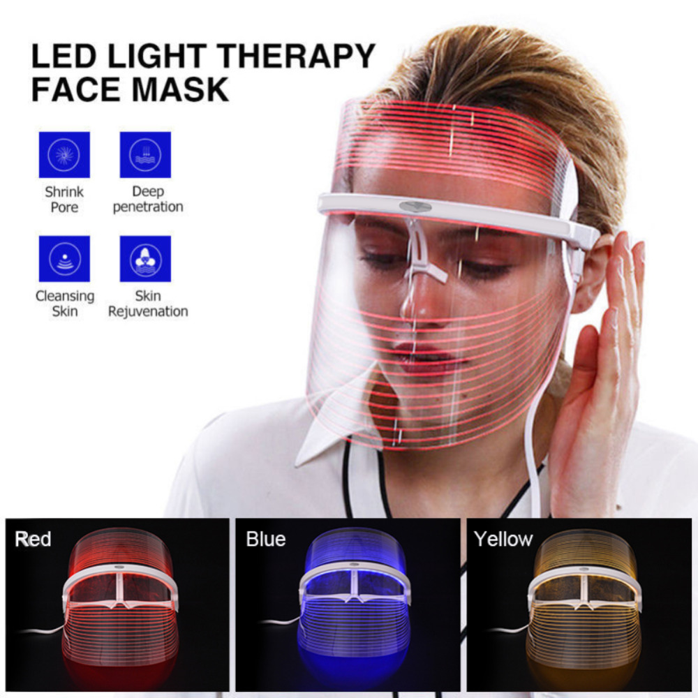 3 Colors LED Light Therapy Face Mask Anti Acne Anti Wrinkle Facial SPA Instrument Treatment Beauty Device Face Skin Care Tools image
