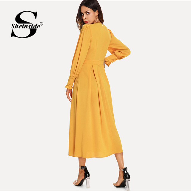 Plain A Line Bishop Sleeve Going Out Dress
