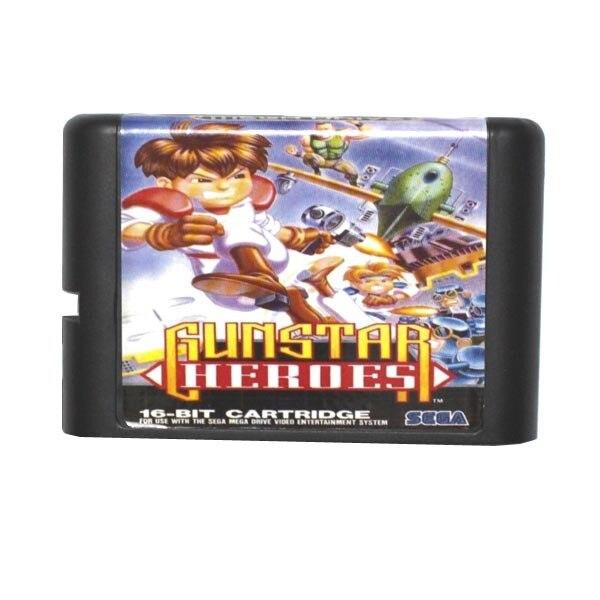 sega md game card gunstar heroes for 16 bit sega md game cartridge
