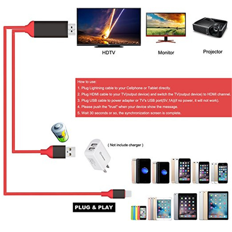 US $5 76 21% OFF|MHL Cable for iPhone HDMI for Samsung Galaxy to  Projector/TV 2M MHL To HDMI Cable 1080P HDTV Cable Adapter For iphone 7 7  plus-in