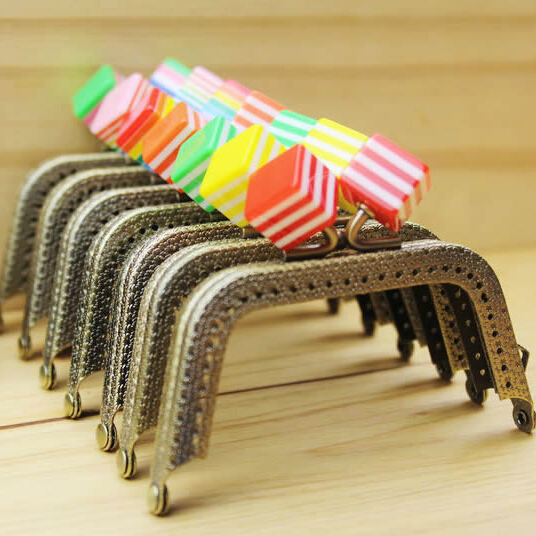 15pcs purse frame antique brass coin purse metal frames, square stripe beads bag handles kiss clasp for handbag drop ship zp168