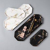 Long Size Plate Marble Texture Ceramic Plate Food Dishes Sushi/cake/dessert/snack Steak Noodle Tray