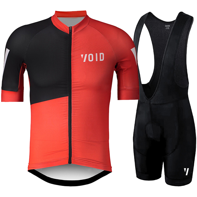 Red cycling jersey with black pants