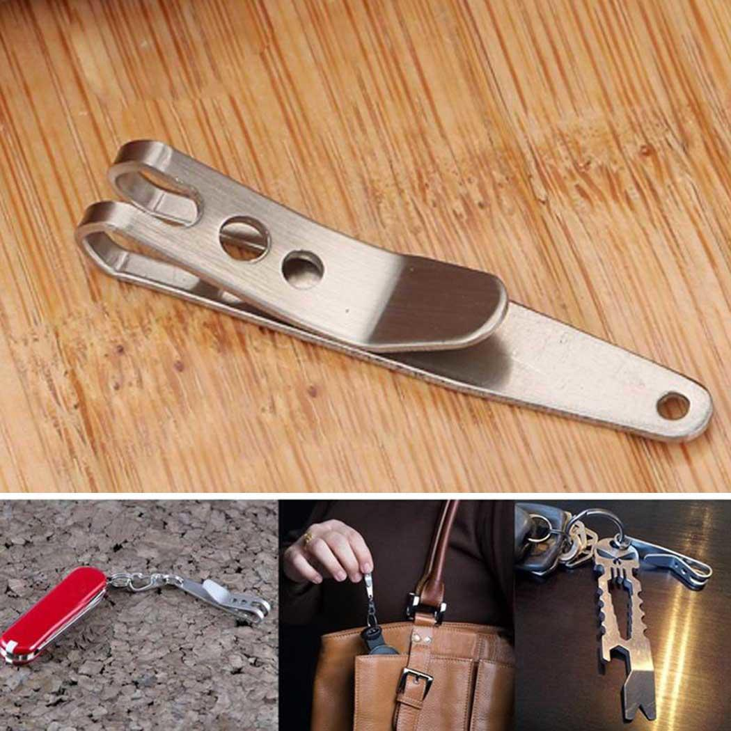 цена на 1PC EDC Bag Key Ring Suspension Clip with Metal Key Ring Buckle Carabiner Stainless Steel Outdoor Quicklink Tool