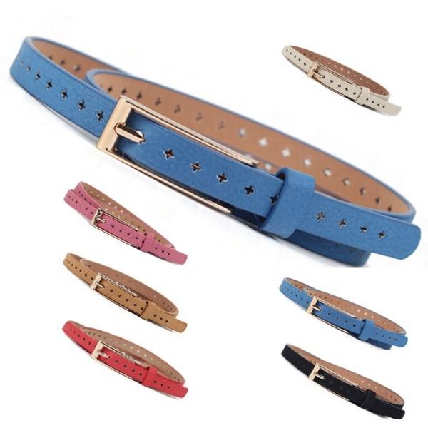 New Womens Lady PU Leather Skinny Thin Narrow Buckle Waist Belt Waistband Strap