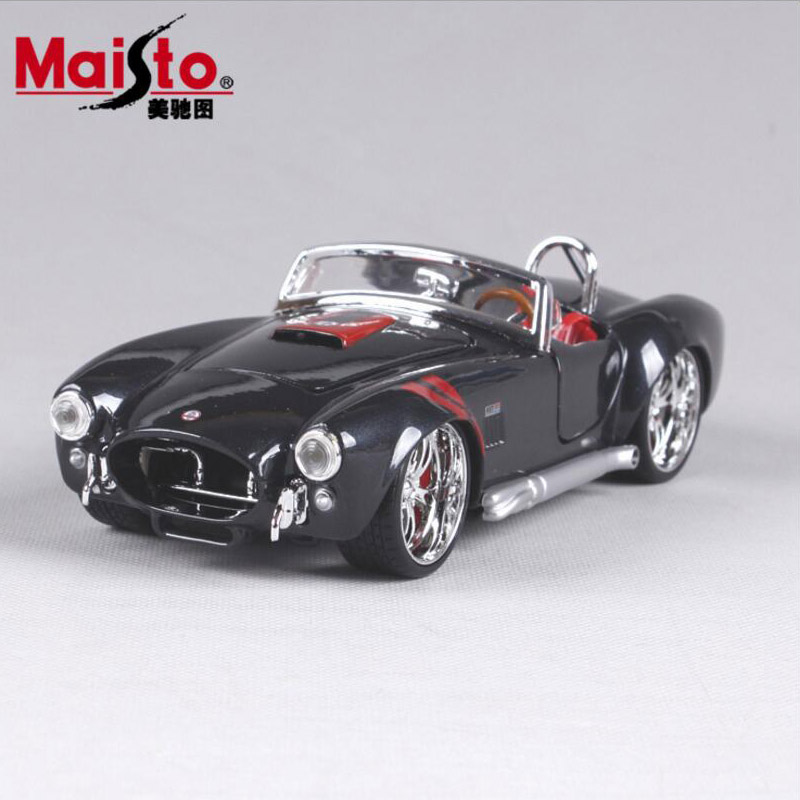 1:24 Scale Children Classic 1965 Shelby AC Cobra 427 Roadster Sports Metal Diecast Modeling Mini Cars Toys Gifts For Collectible
