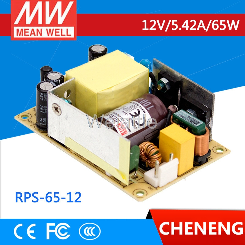 [Cheneng]MEAN WELL original RPS-65-12 12V 5.42A meanwell RPS-65 12V 65W Single Output Medical Type original meanwell rps 160 12 single output 160w 12v 12 9a mean well medical open frame type power supply rps 160 pcb type
