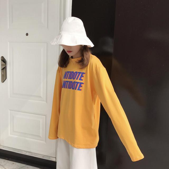 2017 Autunm New Fashion Letter Printed Simple Loose All Match Long Sleeve Basic Halajuku Female T-shirts
