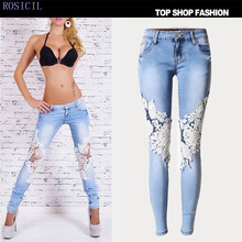 ROSICIL Women Fashion Side Lace Jeans Hollow Out Skinny Denim Jeans Woman Pencil Pants Patchwork Trousers for Women TSL008#
