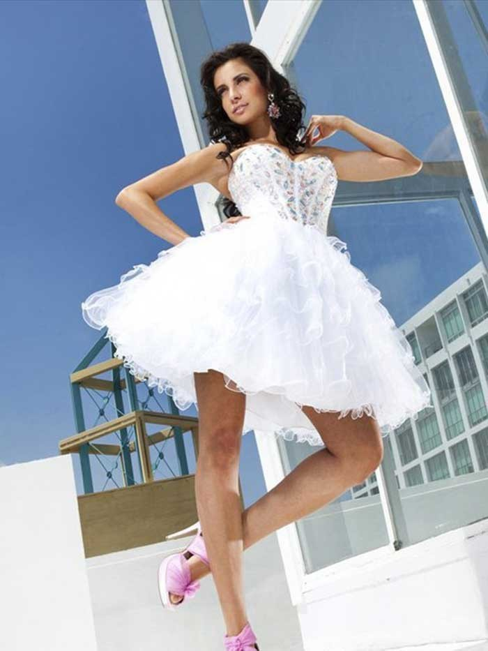 Elegant Sweet 16 Girls Homecoming Semi Formal Dresses Short Organza