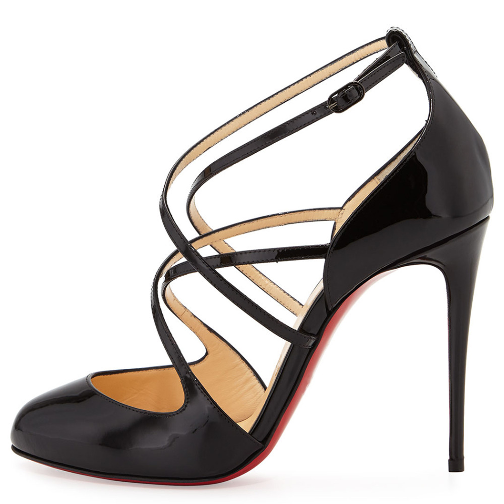Women Black Pleather Point Toe Red Bottom Crossed Strap High Heels Pumps font b Shoes b