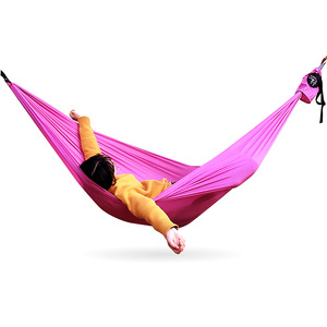 Image 2 - Amaca da campeggio doppia paracadute leggero amache portatili hamock rosso per escursioni viaggi campeggio con amaca cinghie carbina