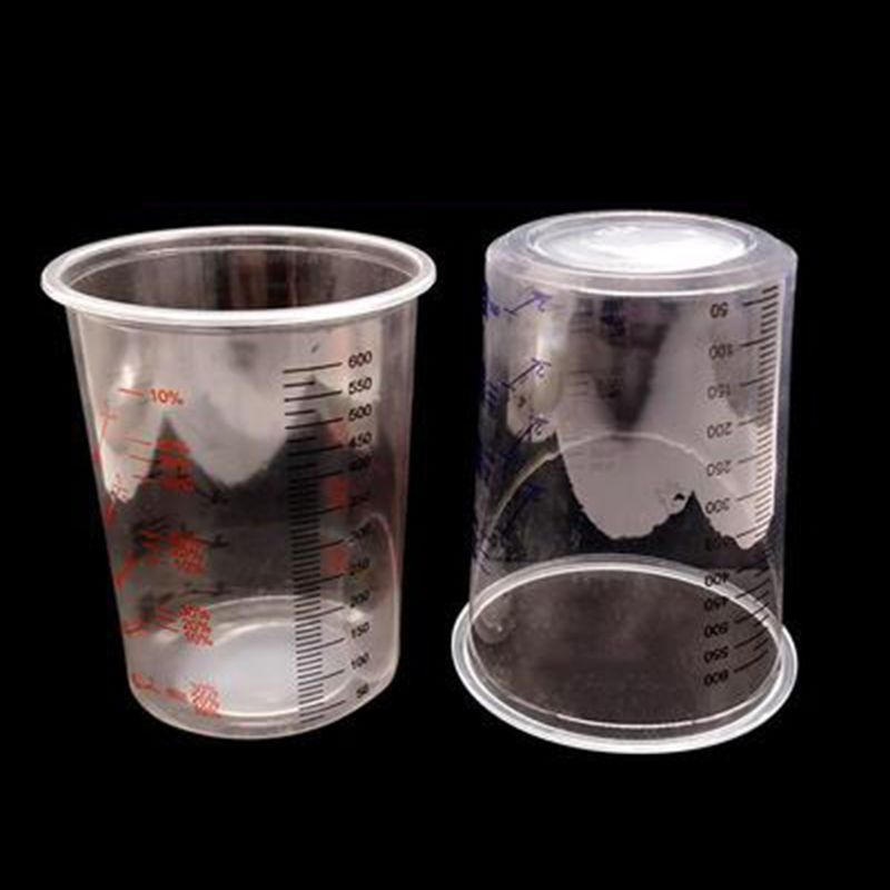 Wholesale Dropshipping   10Pcs Plastic Paint Mixing Cups 600ml Mixing Pot Paint Mixing Calibrated Cup Set F42D