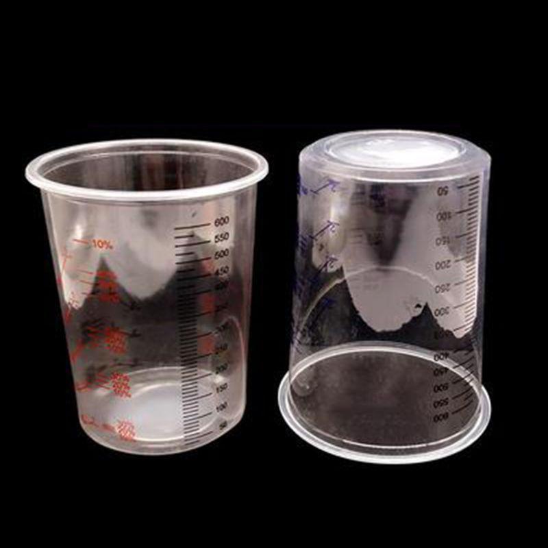 Wholesale Dropshipping   10Pcs Plastic Paint Mixing Cups 600ml Mixing Pot Paint Mixing Calibrated Cup Set F42D