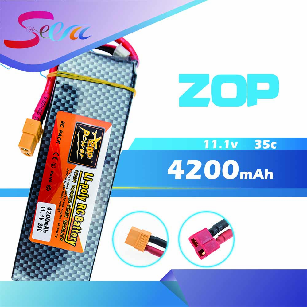 Lipo 3s 11.1v 4200mAh battery 35C ZOP XT60 or T plug lithium batteries for RC Helicopter Airplane drone part wholesale zop power lithium polymer lipo battery 11 1v 10000mah 3s 25c t plug for rc airplane car boat helicopter part