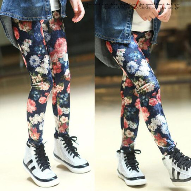 00658ed8d36bdb 2018 Fashion Spring Autumn Baby Teenage Girls Leggings Kids Pencil Pants  Flower Print Legging Girl Child Long Trousers JW1396A-in Pants from Mother  & Kids ...