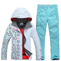 2018 бренд Для женщин лыжная куртка + брюки ветрозащитные Водонепроницаемый уличная спортивная одежда теплая Лыжный спорт Сноуборд костюм же