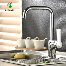 Натуральная reemars латунь одноцветное кухонный кран холодной и горячей двойной режим воды смесителя прямым углом Дизайн 360 градусов Вращение
