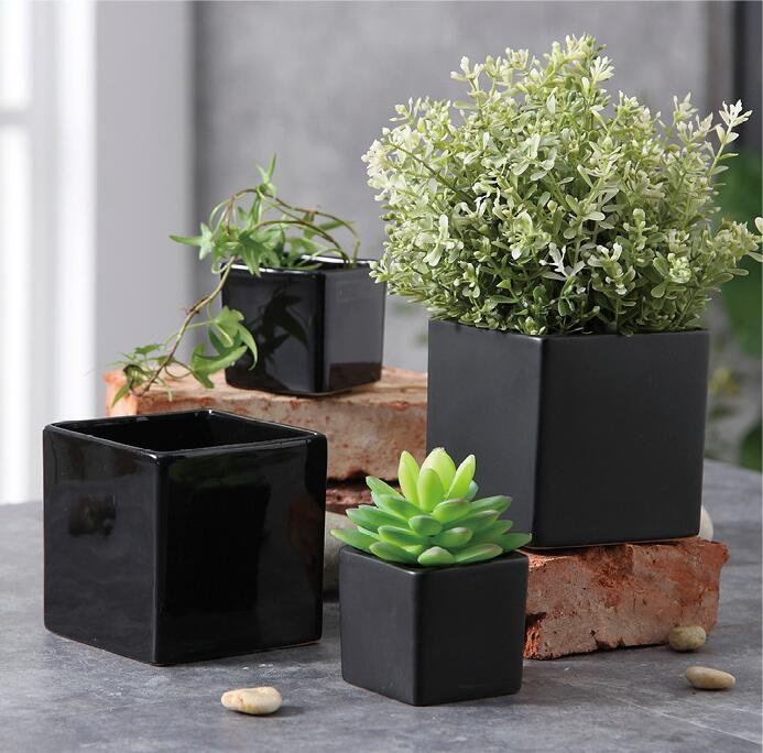 TECHOME Ceramic Flower Pot Modern Square L/M/S Matte Glossy Simple Flower Pot Home Garden Office Decor