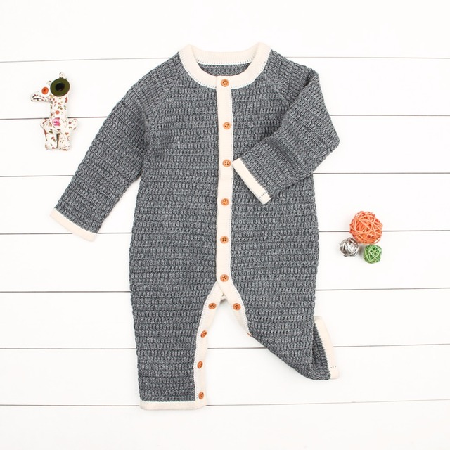 d33f7832f4ab Newborn Baby Girls Rompers Winter Warm Toddler Boys Overalls Autumn Solid  Infant Bebe Jumpsuits One Piece Children Playsuit 0-2T