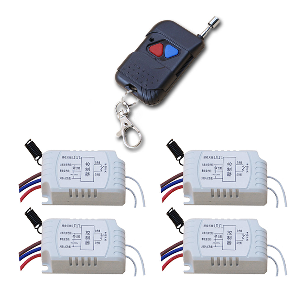 Best Price Promotion  4pcs Receiver +1pcs Transmitter RF Wireless Remote Switch Momenrary Toggle Latched Adjustable 315/433mhz promotion price wireless