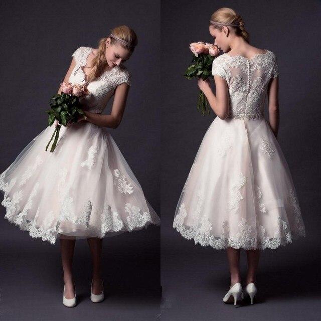 Romantic Short Wedding Dress Lace Beach Dress Sheer Back Tea Length Wedding Reception Dress Summer Short Bridal Party Gowns