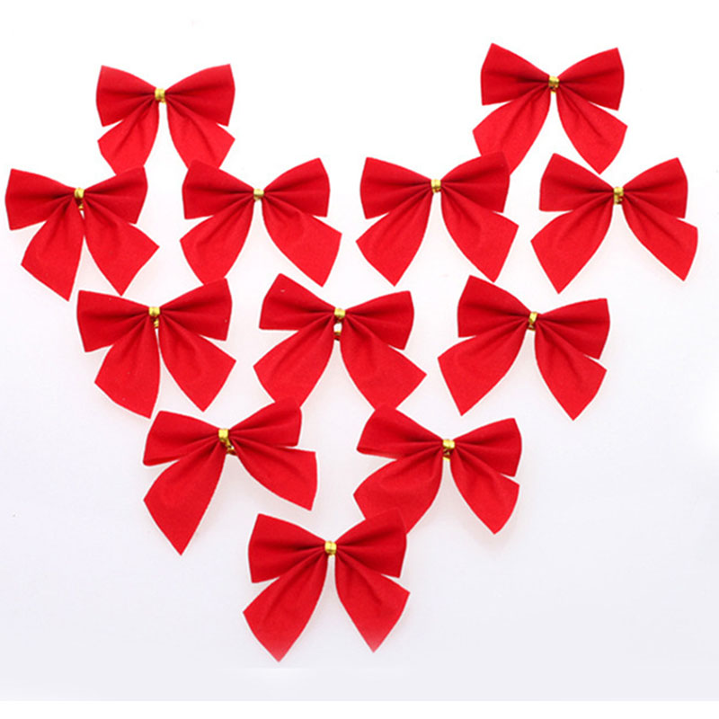 12Pcs/Lot Red Christmas Tie Bows Ornaments Party Holiday