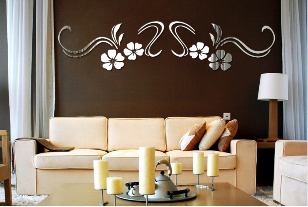 ̀ •́ Meya 3D flores acrílico espejo de pared Adhesivos para sala TV ...