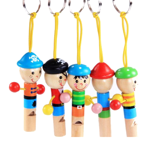 MACH 5pcs Cute Pirate Wooden Whistle with Keyring Key Chain for Kids Games