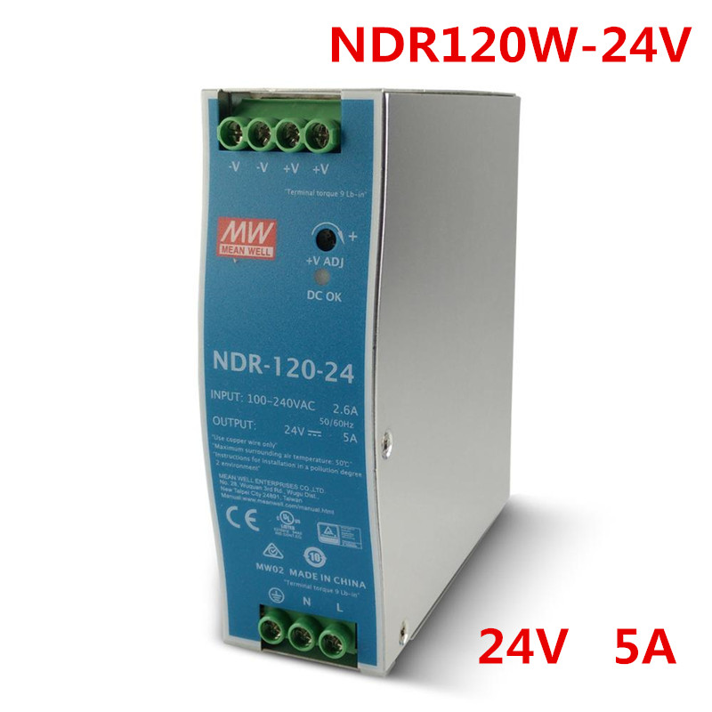 все цены на LED Power Supply 120W 24V 5A Meanwell Single Output CE certificate Din rail type Switching Power Supply онлайн