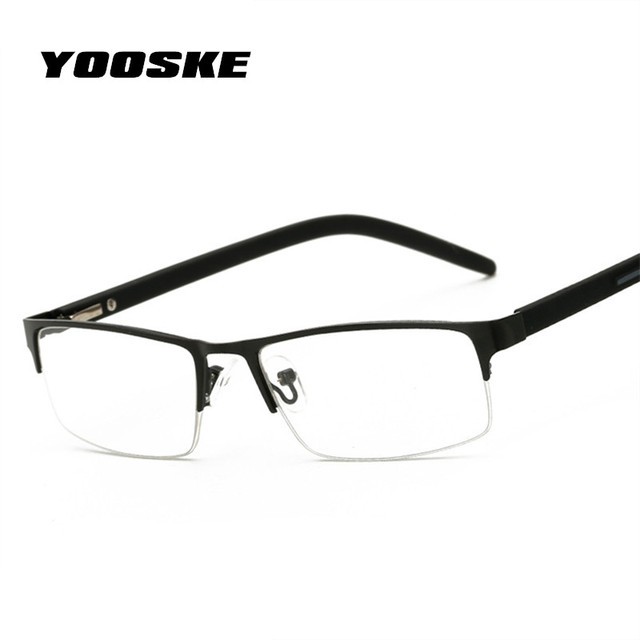 c60f5cfcd1 YOOSKE Fashion Women Men Business Reading Glasses Female Male Metal Half  Frame Eyeglasses with Prescription Hyperopia Glasses