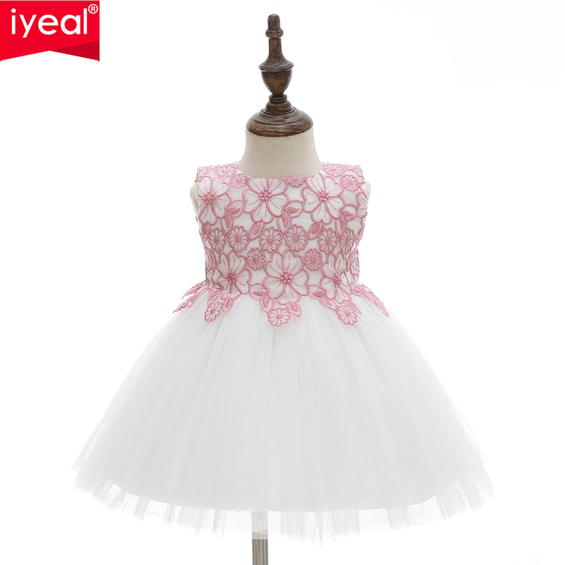 IYEAL Newborn Baby Girl 1 Year Birthday Dress Toddler Girl Christening Dress Infant Princess Party Dresses For Kids Baby Girls 2018 newborn baby christening party dress gown full dress princess girls 1 year birthday baby dresses for baptism infant clothes