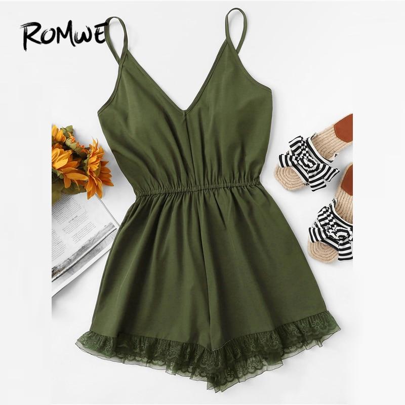 ROMWE Lace Hem V Neckline Cami   Romper   2019 Swish Army Green Summer Women Sleeveless Sexy   Romper   Spaghetti Strap   Romper