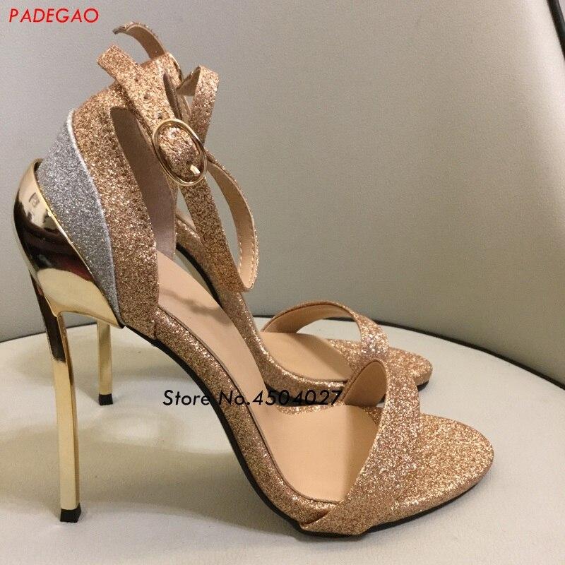 2 Sexy Toe Date Model En Paillettes Partie 1 Sandales Sangle Doré Pour  Chaussures De Talon Peep Été Robe Métal Boucle Femmes model q101xCgw 33f1daec5d7f