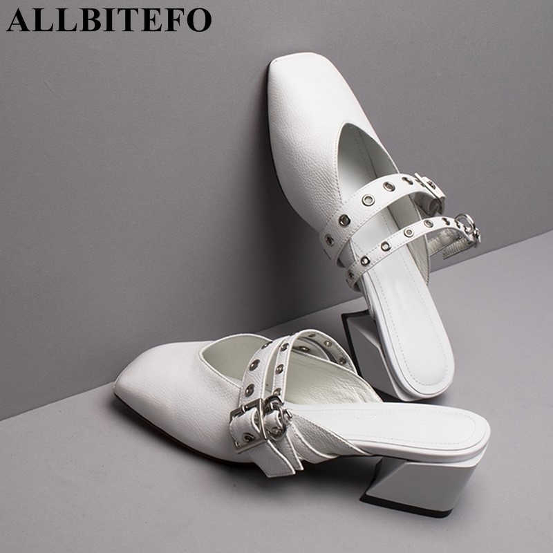 ALLBITEFO natural genuine leather women flip flops medium heels women shoes summer fashion sexy slippers slides