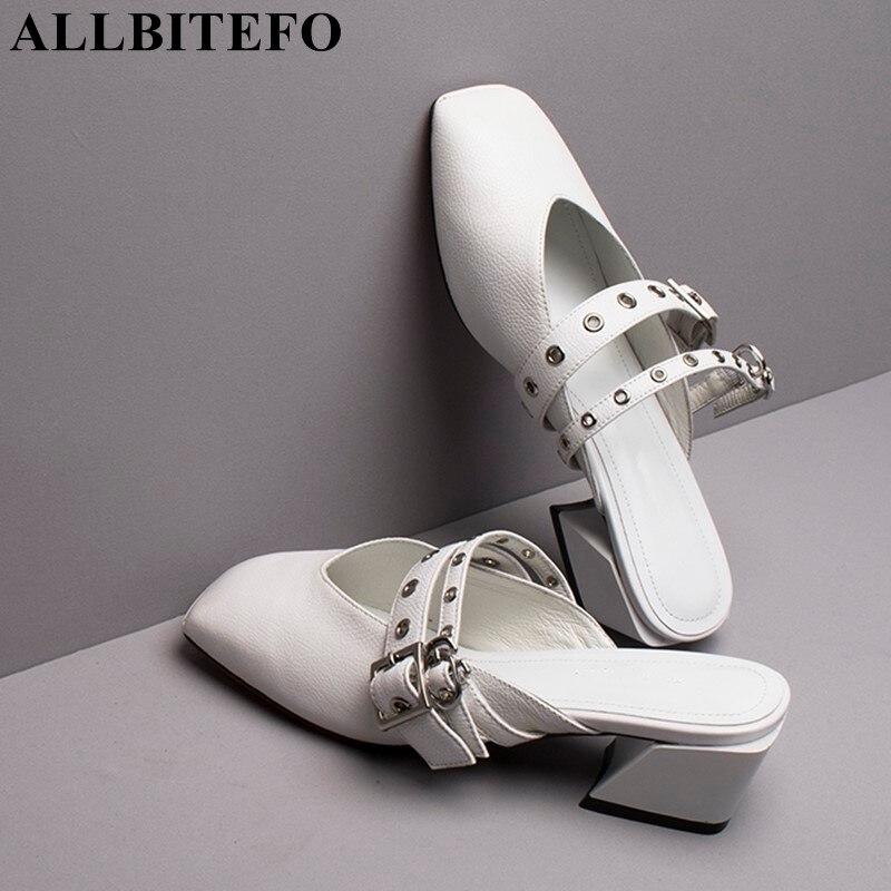 ALLBITEFO naturalne prawdziwej skóry kobiet klapki japonki średnie obcasy damskie buty moda lato sexy kapcie slajdy damskie sandały w Kapcie od Buty na AliExpress - 11.11_Double 11Singles' Day 1