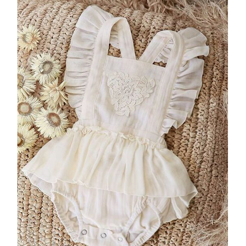 Newborn Infant Baby Girls Lace White Clothes Bodysuits Sleeveless Backless Jumpsuit Summer Outfits Baby Clothing Sunsuit 4-24M