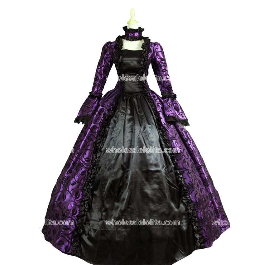 Wholesalelolita Nejprodávanější Purpurový tisk z 18. století a černé šaty Klubové šaty Marie Antoinetta Gotický míč