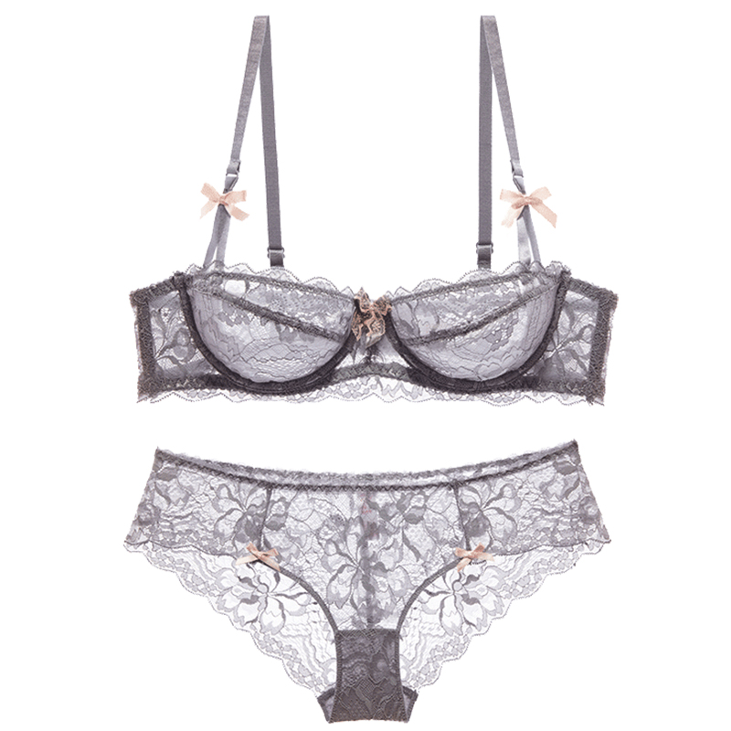 Shaonvmeiwu Autumn and winter ladies sexy lace ultra-thin underwear bra set French bra no sponge comfortable breathable