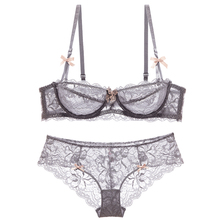 Shaonvmeiwu Autumn and winter ladies sexy lace ultra-thin underwear bra set French no sponge comfortable breathable