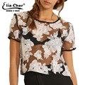 Gasa bordado corto causal ropa superior femenina elegante elegante de la moda más tamaño activo floral mujeres tops