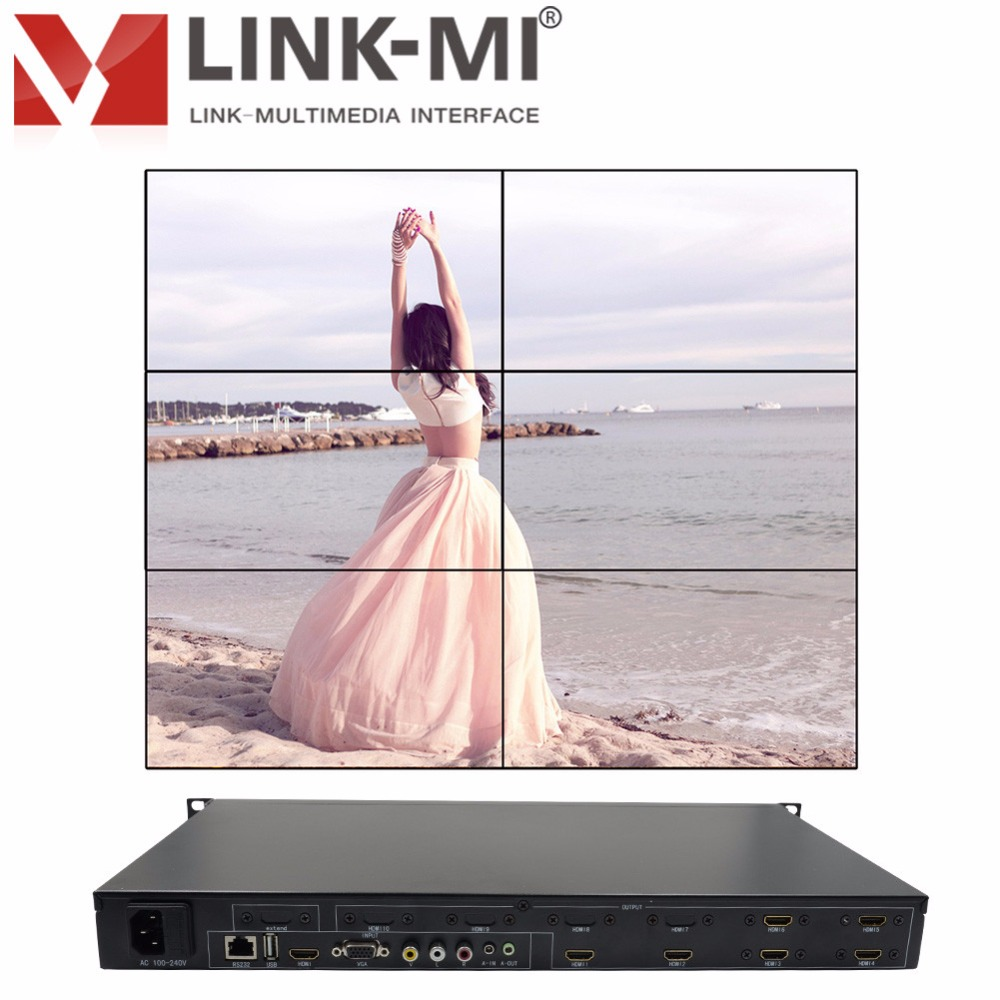 LINK MI TV06 HDMI+VGA+AV+USB LED/LCD 2x3 Video Wall Controller Six Images Stitching Image Processor