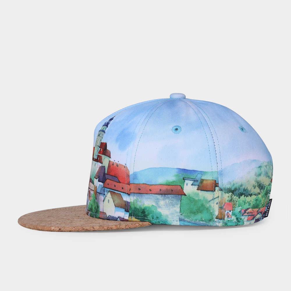 NUZADA Snapback moda 3D drukowanie kobiety mężczyźni czapka z daszkiem wiosna kapelusz na lato korka czapki kości w stylu Vintage europejskie miasto