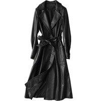Из натуральной кожи куртка Для женщин топы 2018 Осенне зимнее пальто Для женщин ветровка овчины куртка корейский плащ длинное пальто ZT383