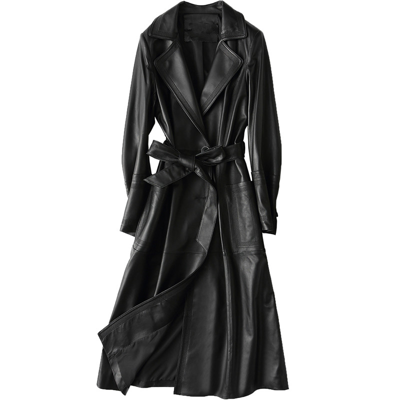 Real Genuine Leather Jacket Women Tops 2018 Autumn Winter Coat Women Windbreaker Sheepskin Jacket Korean Trench Long Coat ZT383