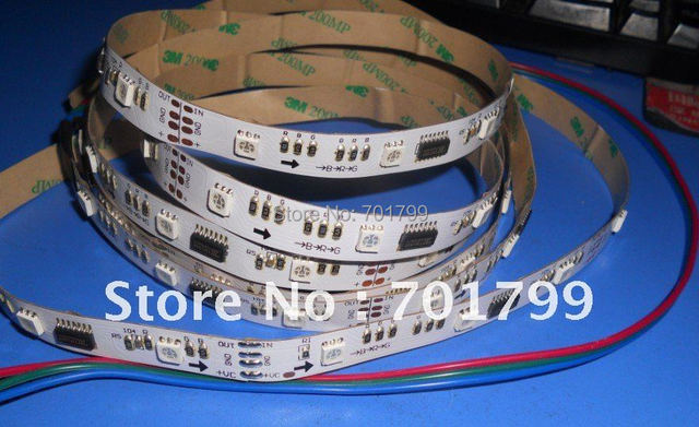 5m 30leds/m TM1809 led dream color strip,DC12V input,10pcs IC each meter,non-waterproof