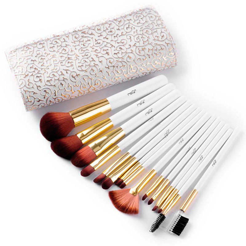 Best gifts 2016 Makeup Brushes High Quality Make Up Brush Beauty Cosmetic Brush Set With Delicate White PU Case Free Shipping delicate cosmetic brush 10pcs