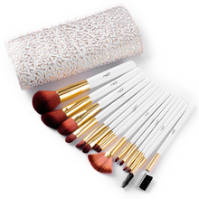 Best gifts 2016 Makeup Brushes High Quality Make Up Brush Beauty Cosmetic Brush Set With Delicate White PU Case Free Shipping